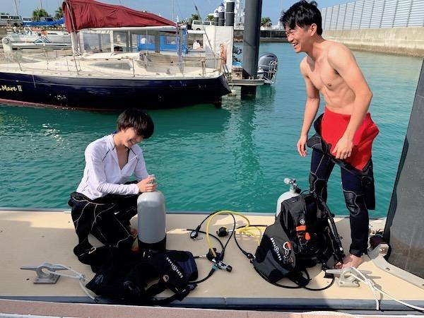 石垣島PADIオープンウォーターライセンス講習の器材セッティング2019年5月29日