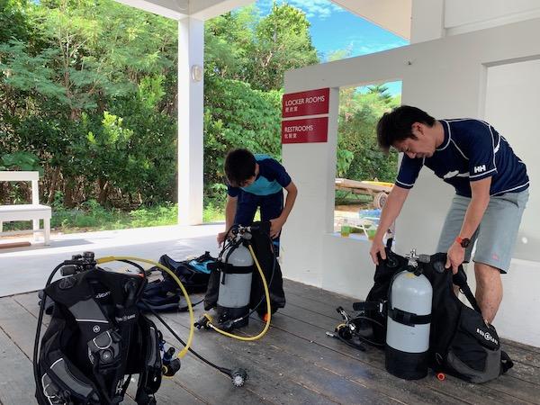 沖縄県石垣島PADIオープンウォーターの器材セッティング2019年7月23日